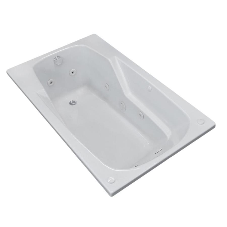 Endurance Falcon 59-in White Acrylic Drop-In Whirlpool Tub with Left-Hand Drain