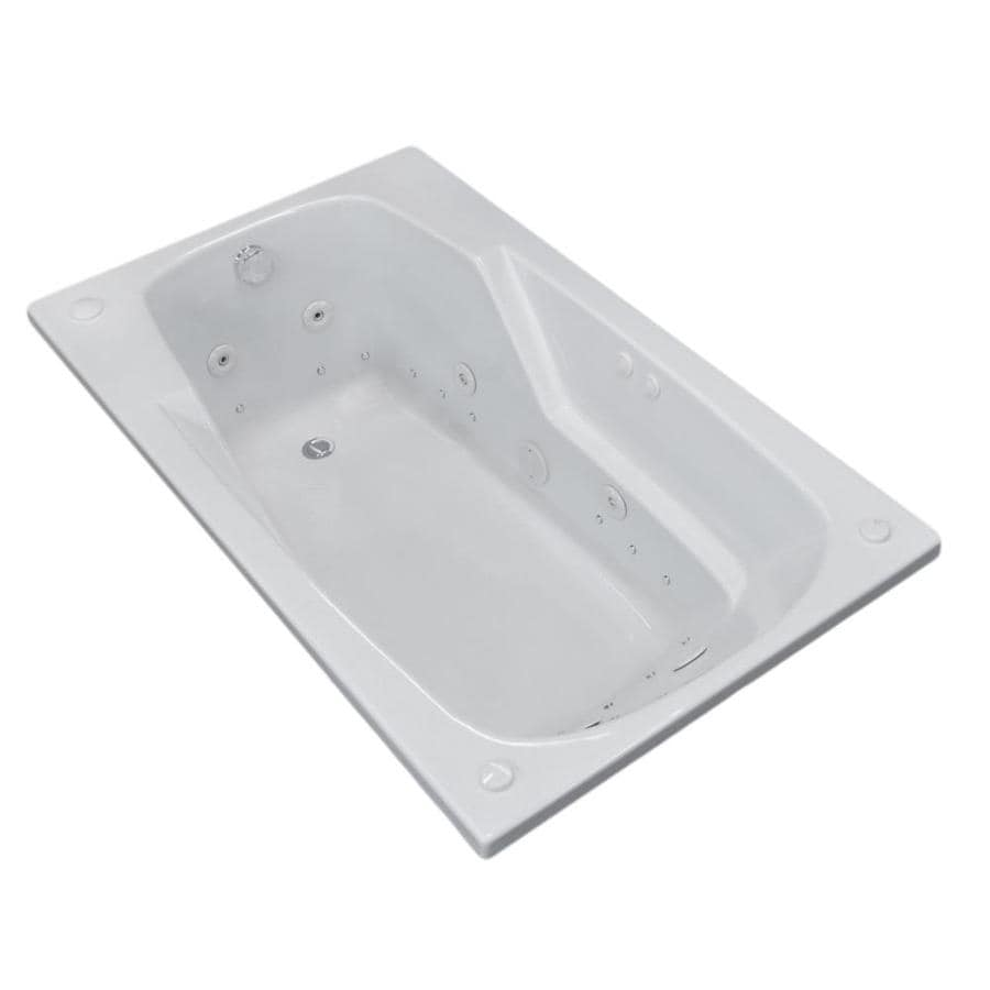 Endurance Falcon 71-in White Acrylic Drop-In Whirlpool Tub and Air Bath with Left-Hand Drain