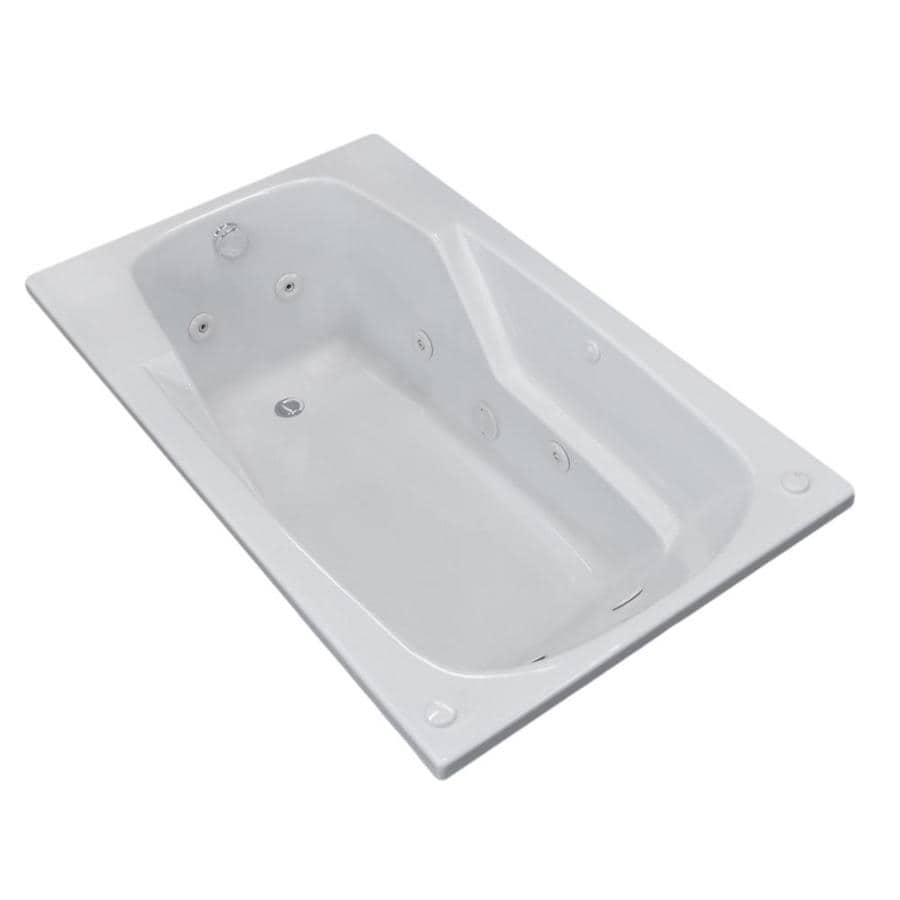 Endurance Falcon 71-in White Acrylic Drop-In Whirlpool Tub with Left-Hand Drain