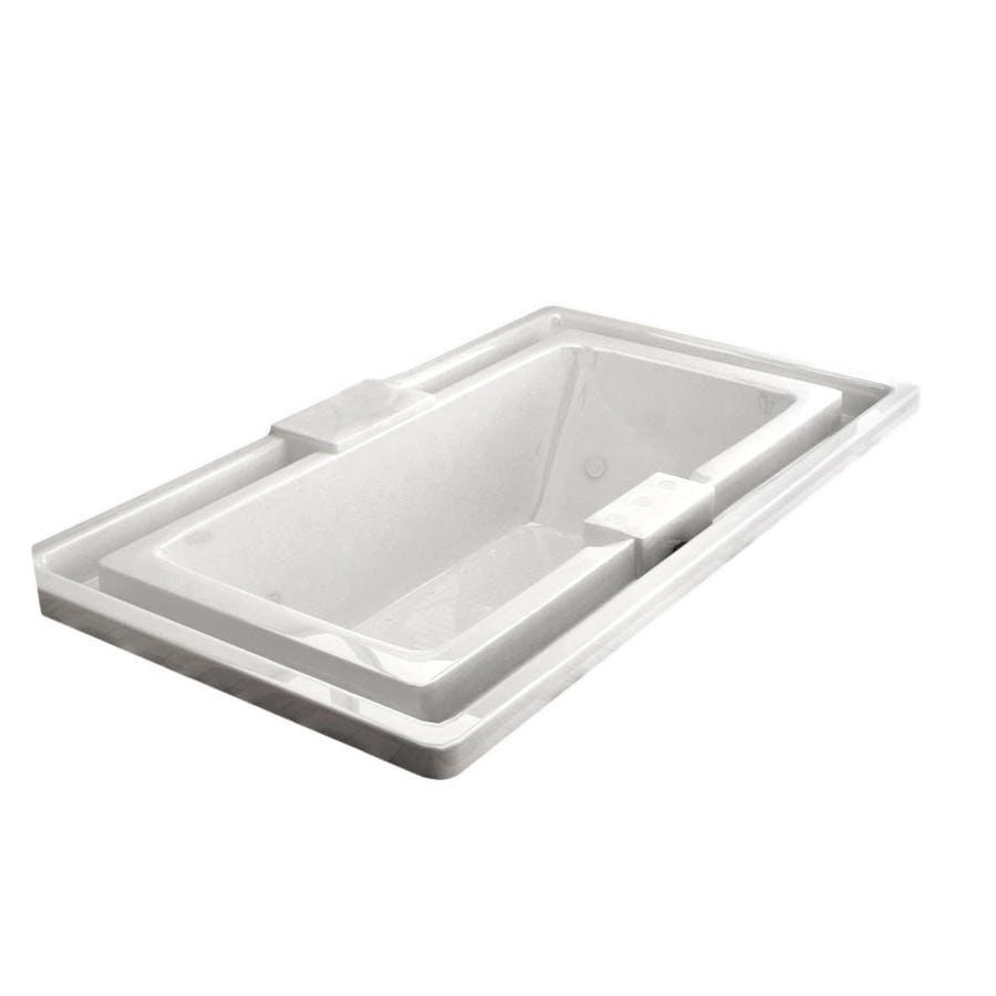 Endurance Osprey 78-in White Acrylic Drop-In Whirlpool Tub and Air Bath with Center Drain