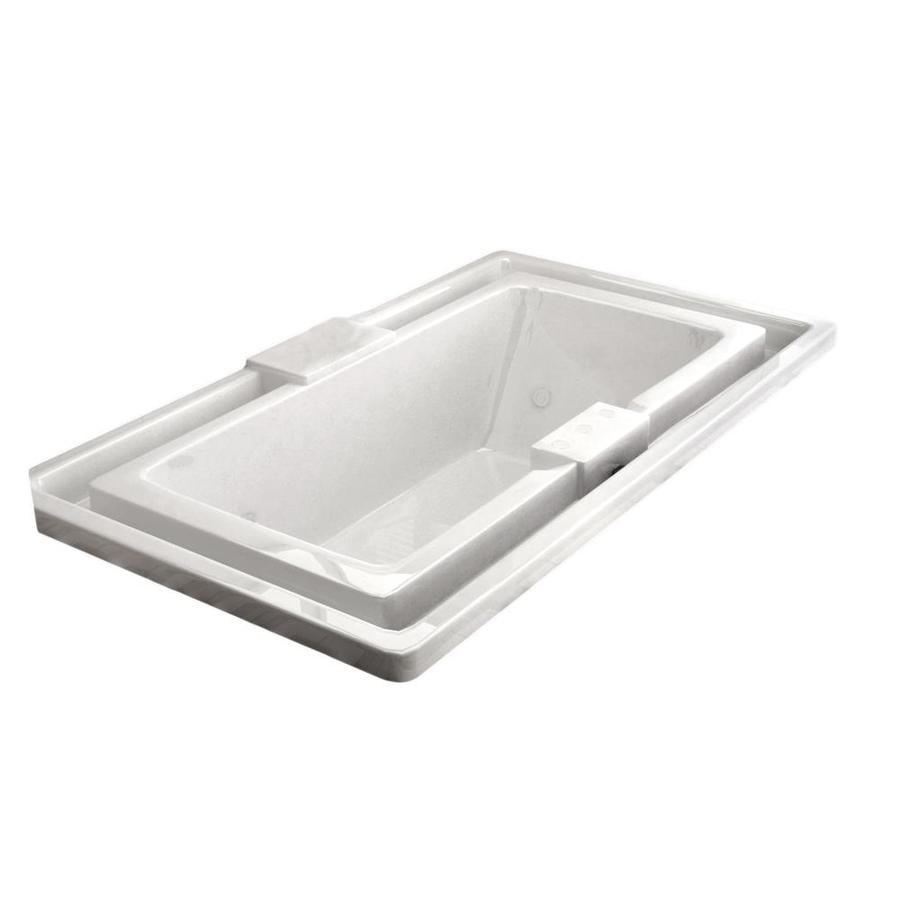 Endurance Osprey 78-in White Acrylic Drop-In Whirlpool Tub with Center Drain