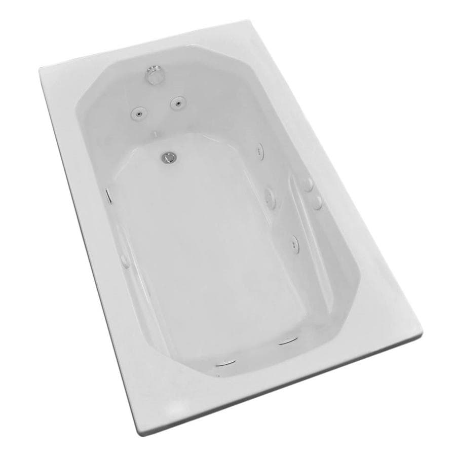 Endurance Pelican 59.75-in White Acrylic Drop-In Whirlpool Tub with Right-Hand Drain