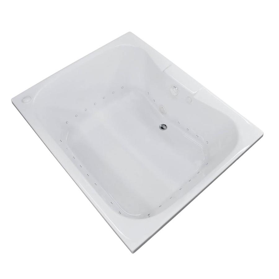 Endurance Harrier 59-in L x 47.25-in W x 23-in H White Acrylic 2-Person Hourglass In Rectangle Drop-in Air Bath