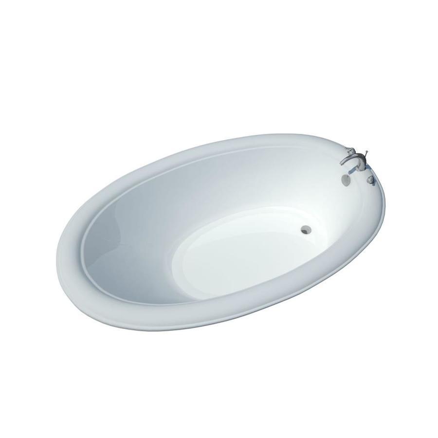 Endurance Hazel 78-in White Acrylic Drop-In Bathtub with Center Drain