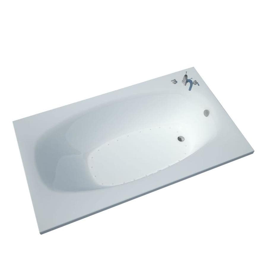 Endurance Sparrow 35.7-in L x 65.25-in W x 23-in H White Acrylic Oval In Rectangle Drop-in Air Bath