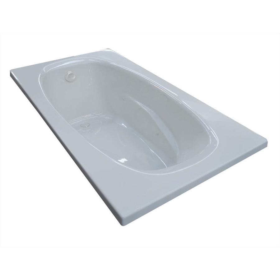 Endurance Sparrow 71-in White Acrylic Drop-In Bathtub with Reversible Drain