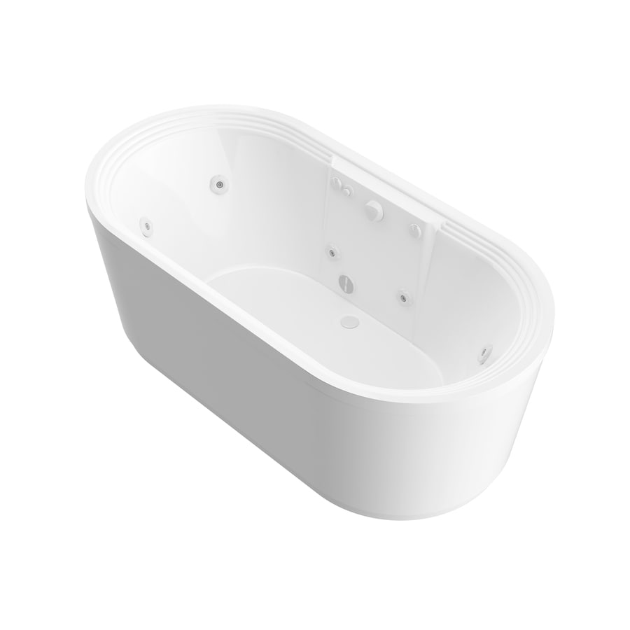 Endurance Endurance 66.8-in White Acrylic Freestanding Whirlpool Tub with Center Drain