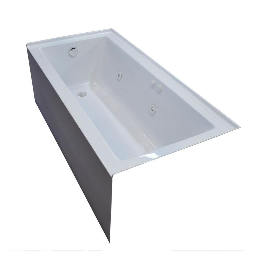 Endurance Ibis 60-in White Acrylic Drop-In Whirlpool Tub with Left-Hand Drain