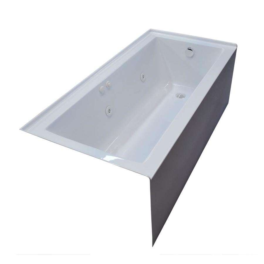Endurance Ibis 60-in White Acrylic Drop-In Whirlpool Tub with Right-Hand Drain