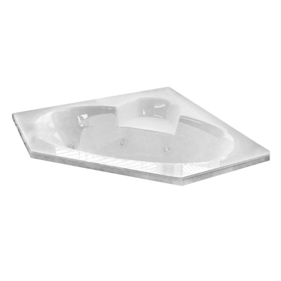 Endurance Swan 58-in L x 58-in W x 23-in H 2-Person White Acrylic Corner Drop-in Whirlpool Tub and Air Bath