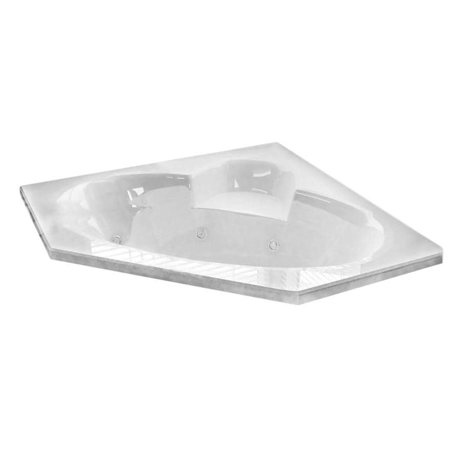 Endurance Swan 2-Person White Acrylic Corner Whirlpool Tub (Common: 60-in x 60-in; Actual: 23-in x 58-in x 58-in)