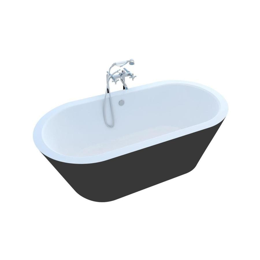 Endurance Endurance Freestanding 65-in Black/White Acrylic Freestanding Bathtub with Center Drain