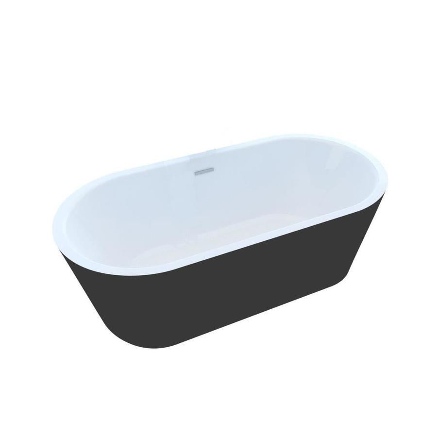 Endurance 66.75-in Black/White Acrylic Freestanding Bathtub with Center Drain