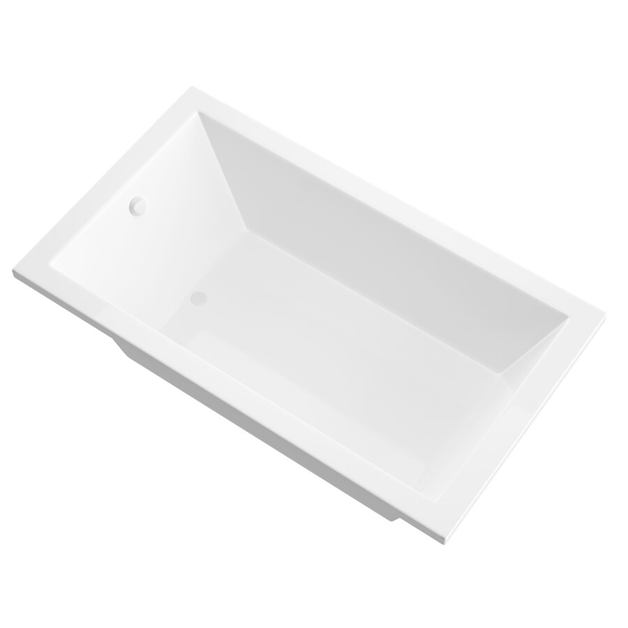 Endurance Peregrine 72-in White Acrylic Drop-In Bathtub with Reversible Drain
