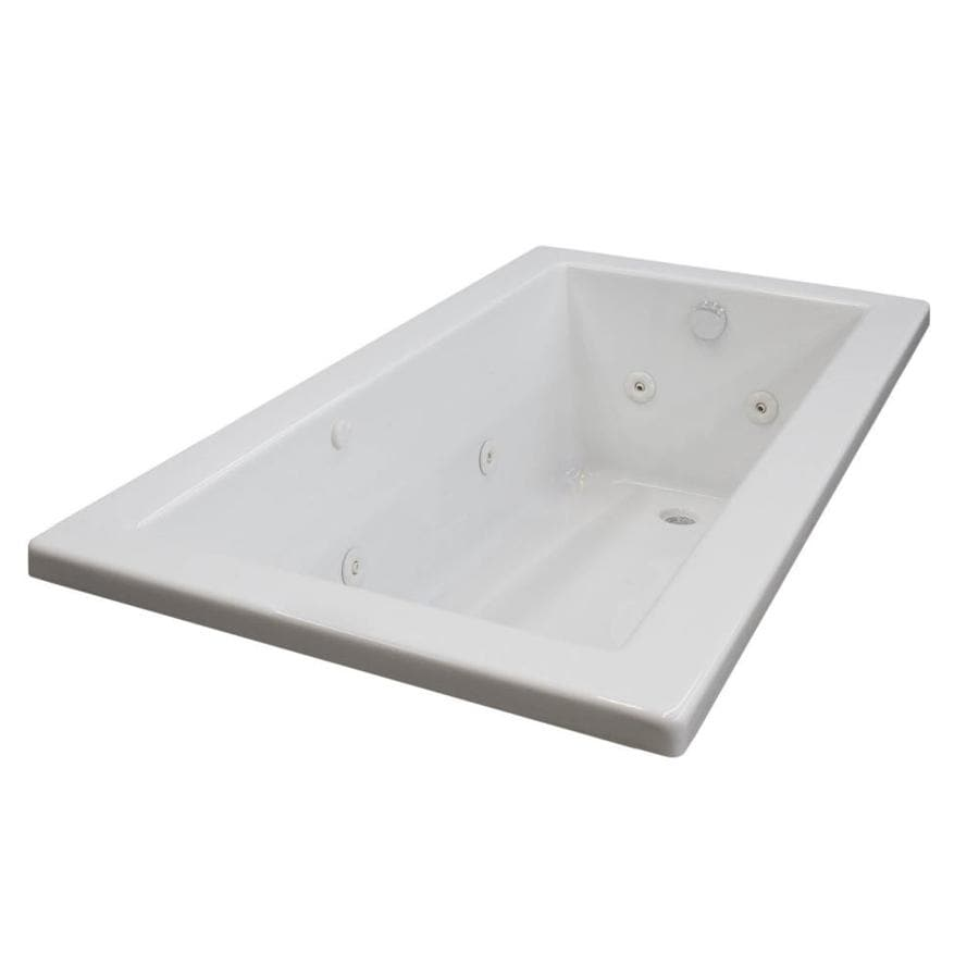 Endurance Peregrine 72-in White Acrylic Drop-In Whirlpool Tub with Left-Hand Drain
