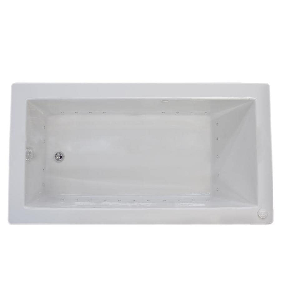 Endurance Peregrine 42-in L x 72-in W x 23-in H White Acrylic 2-Person Rectangular Drop-in Air Bath