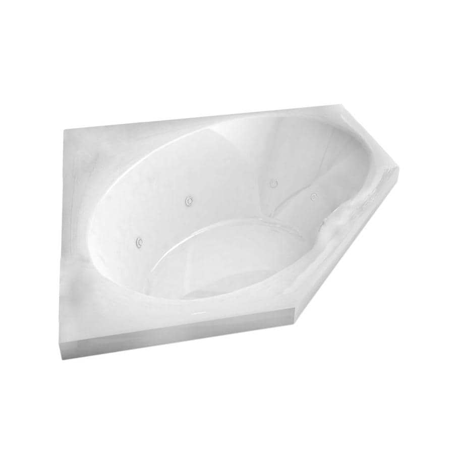 Endurance Macaw 2-Person White Acrylic Corner Whirlpool Tub (Common: 60-in x 60-in; Actual: 23-in x 58-in x 58-in)