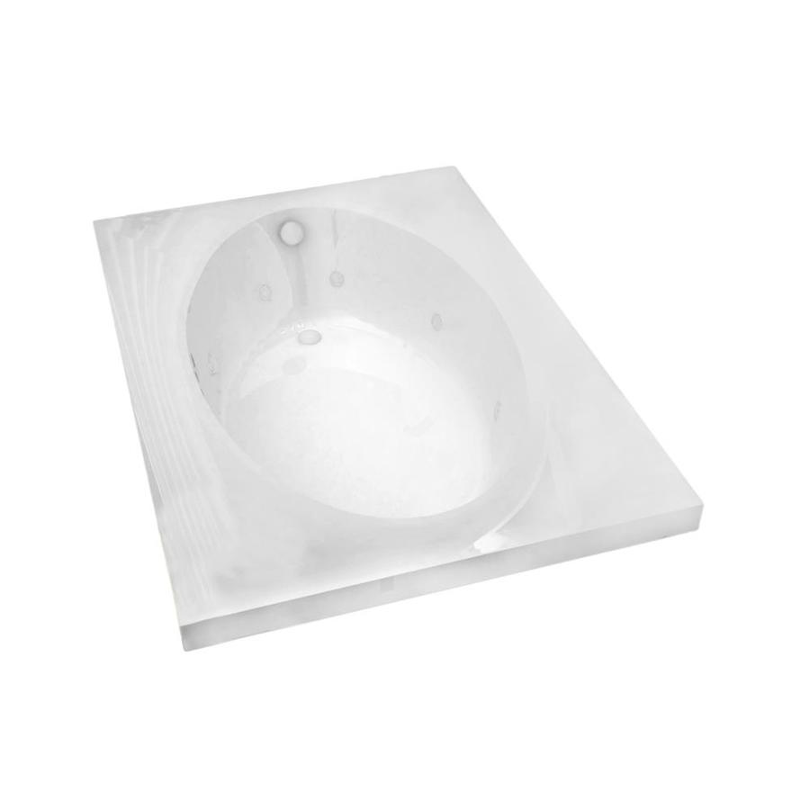Endurance Partridge 59-in White Acrylic Drop-In Whirlpool Tub with Right-Hand Drain