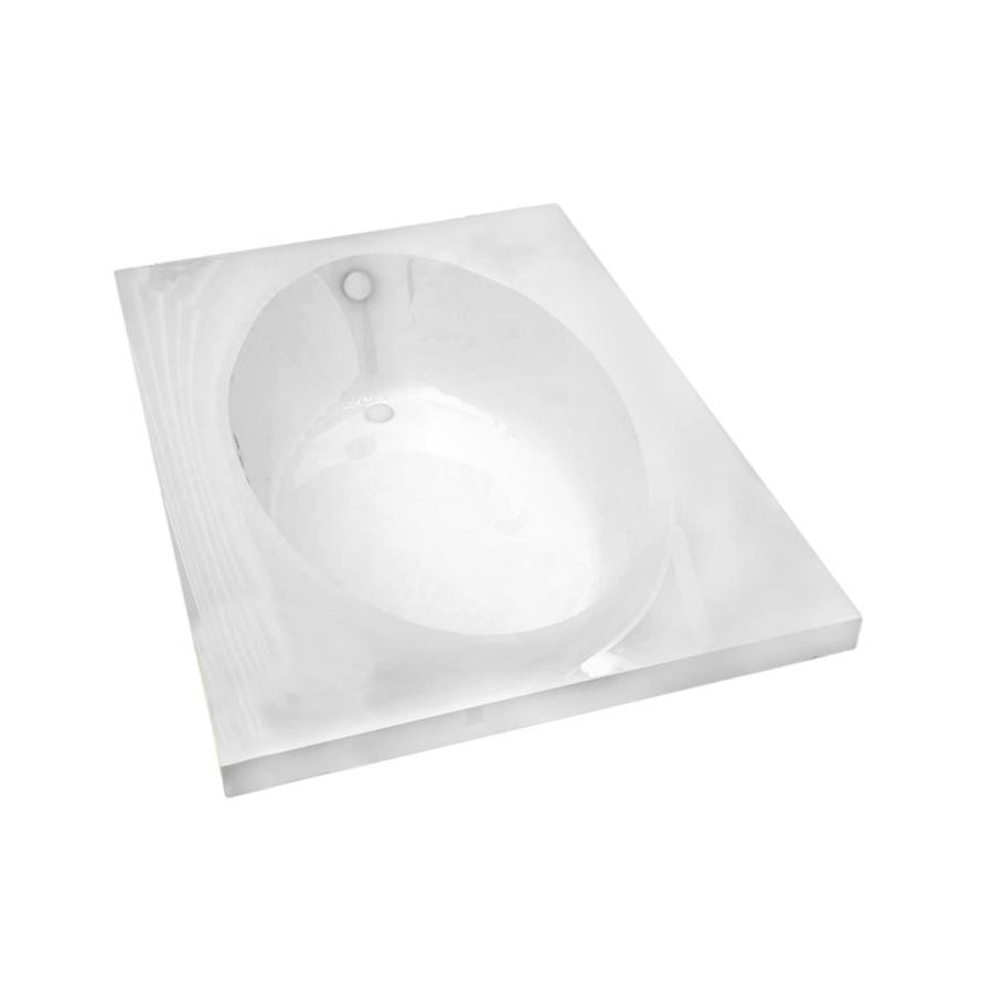 Endurance Partridge Acrylic Oval In Rectangle Drop-in Bathtub with Reversible Drain (Common: 42-in x 72-in; Actual: 23-in x 41.375-in x 71.25-in)