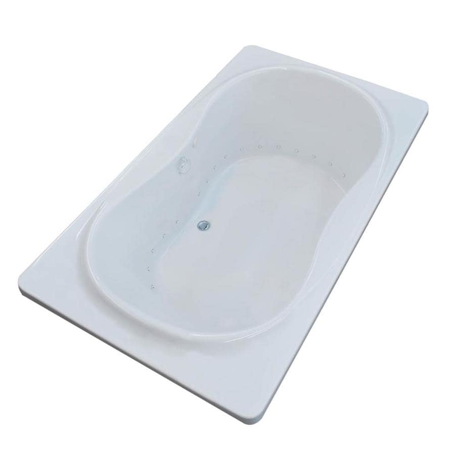 Endurance Crane 71.5-in White Acrylic Drop-In Air Bath with Center Drain