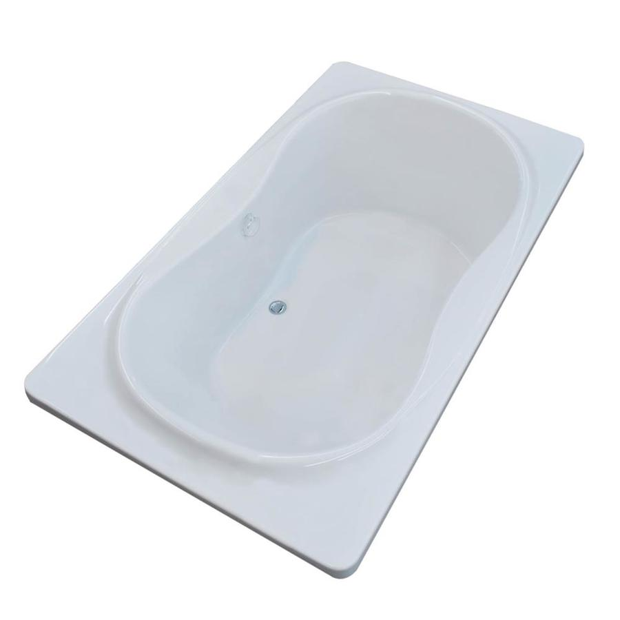 Endurance Crane 71.5-in White Acrylic Drop-In Bathtub with Center Drain