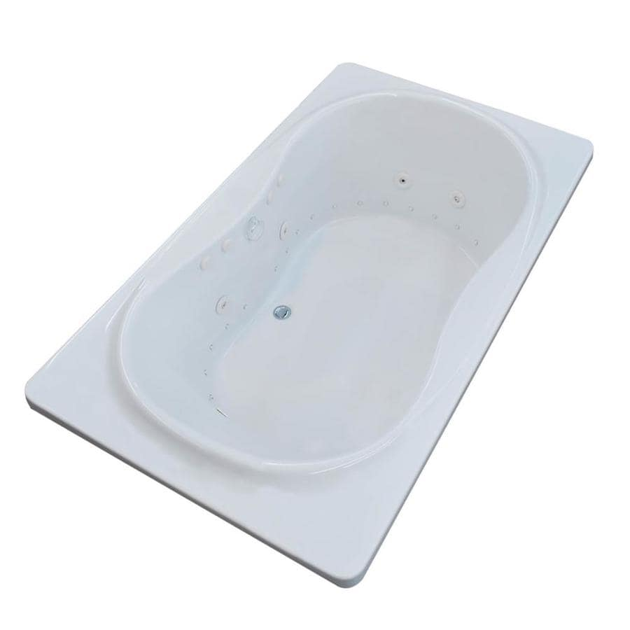 Endurance Crane 71.4-in L x 41.5-in W x 23-in H White Acrylic Hourglass In Rectangle Drop-in Whirlpool Tub and Air Bath