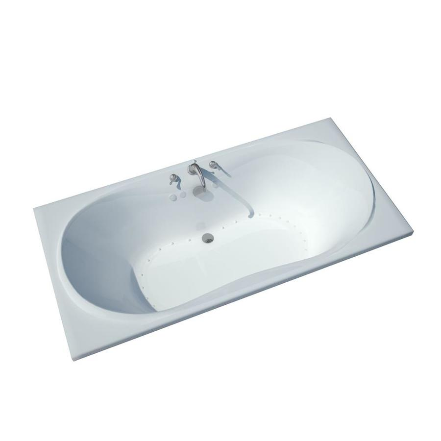 Endurance Crane 42-in L x 72-in W x 23-in H White Acrylic Hourglass In Rectangle Drop-in Air Bath