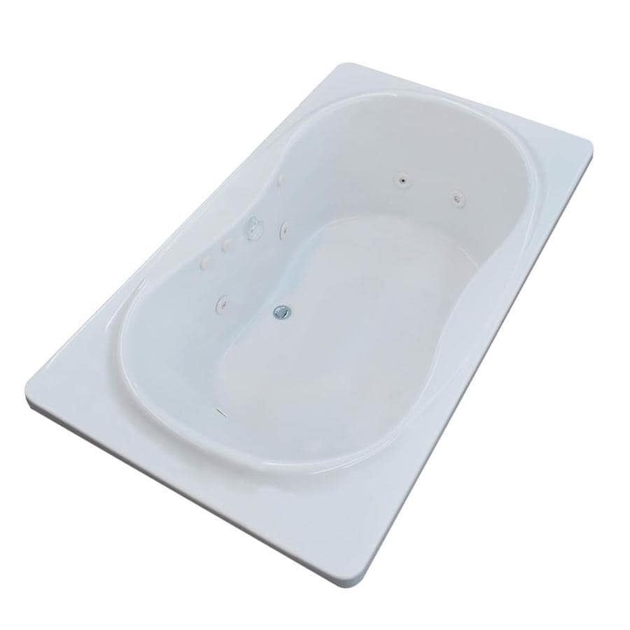 Endurance Crane 71.4-in White Acrylic Drop-In Whirlpool Tub with Center Drain