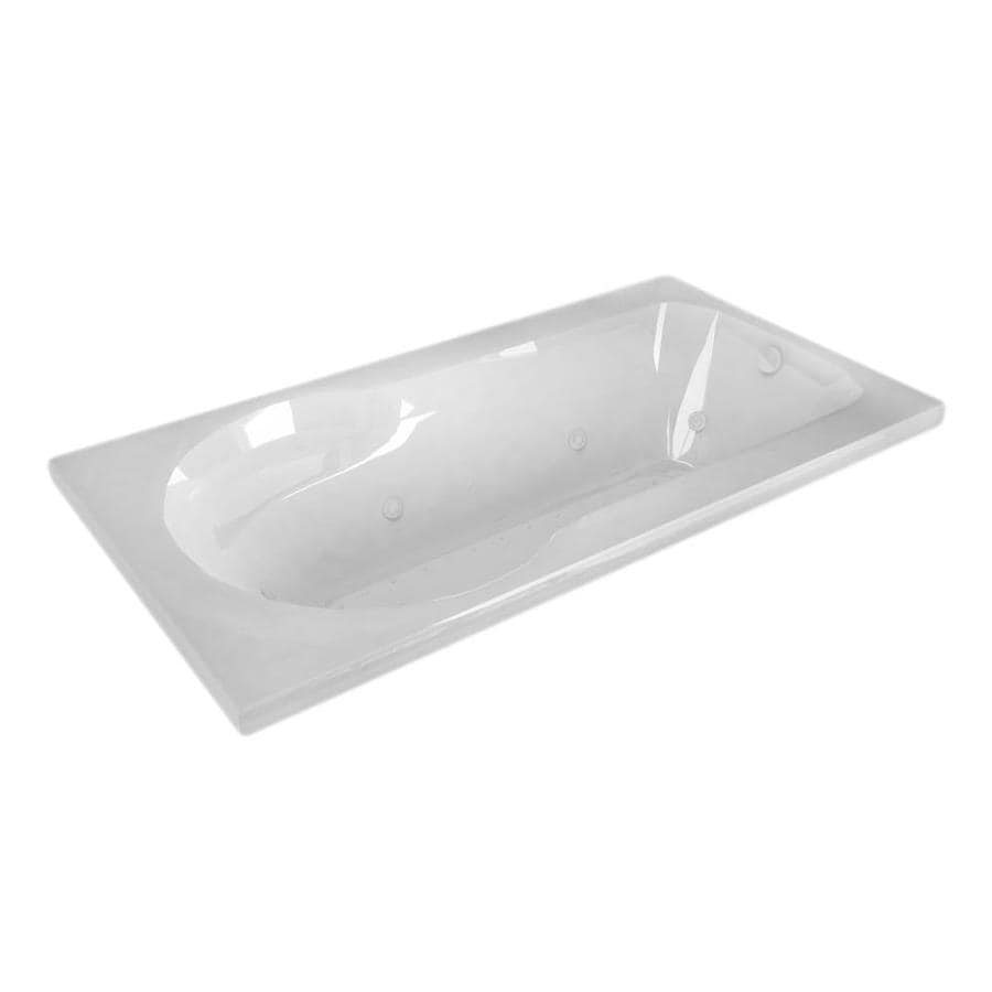 Endurance Willow 53.5-in L x 31.5-in W x 23-in H White Acrylic Rectangular Drop-in Whirlpool Tub and Air Bath