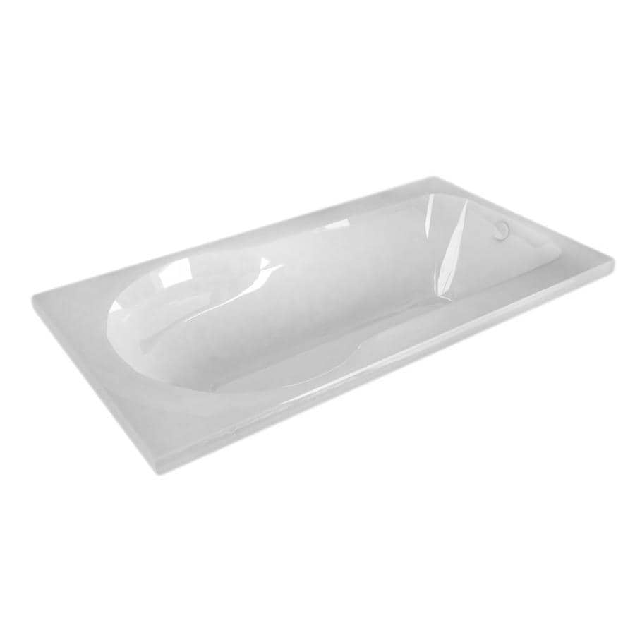 Endurance Willow 53.5-in White Acrylic Drop-In Bathtub with Reversible Drain