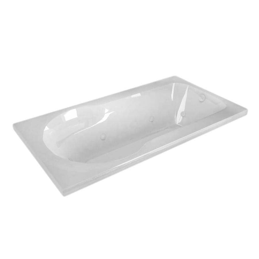 Endurance Willow White Acrylic Rectangular Whirlpool Tub (Common: 60-in x 32-in; Actual: 23-in x 31.5-in x 53.5-in)