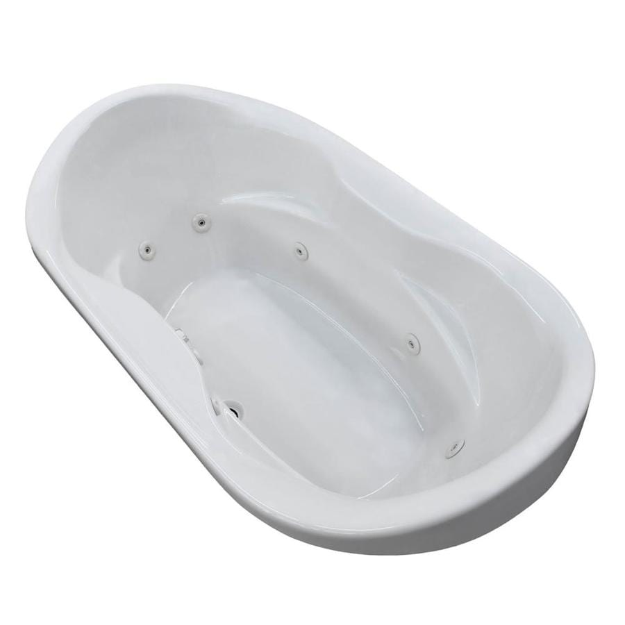 Endurance Merlin White Acrylic Hourglass Whirlpool Tub (Common: 72-in x 42-in; Actual: 24.75-in x 41-in x 70-in)
