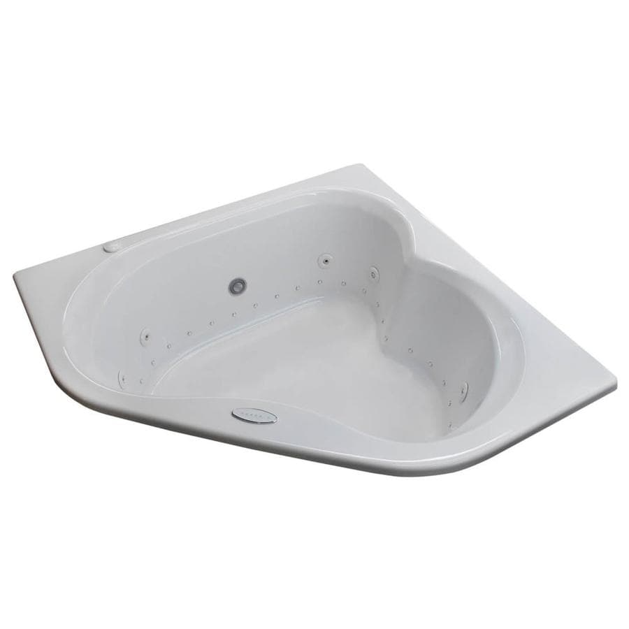 Endurance Dove 59.25-in White Acrylic Drop-In Whirlpool Tub and Air Bath with Center Drain