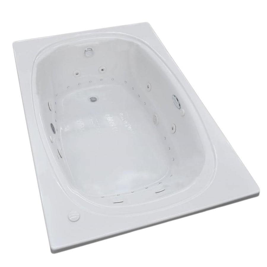 Endurance Budgie 71.5-in White Acrylic Drop-In Whirlpool Tub and Air Bath with Right-Hand Drain