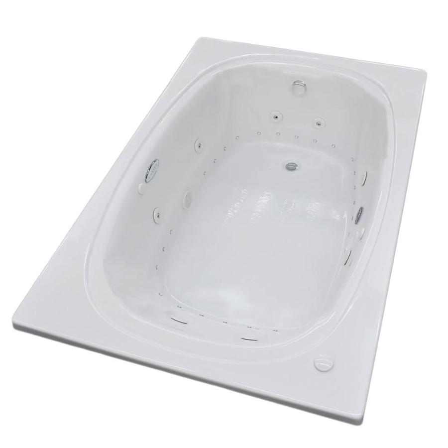 Endurance Budgie 77.9-in White Acrylic Drop-In Whirlpool Tub and Air Bath with Center Drain