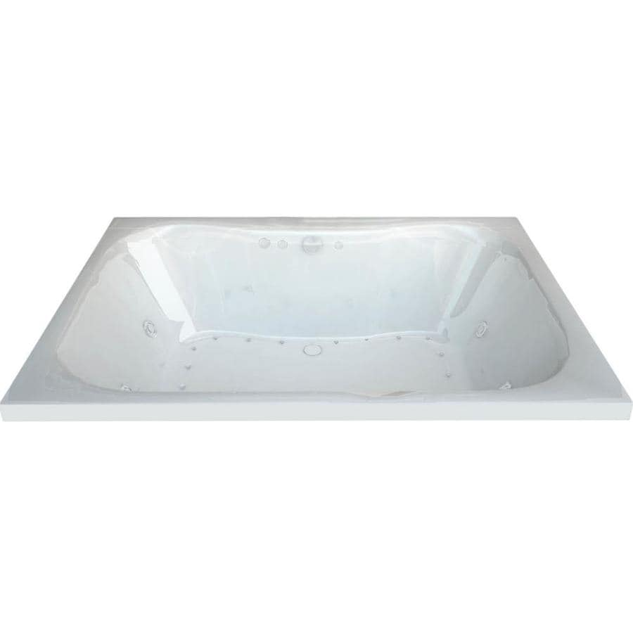 Endurance Harrier 58-in L x 40.5-in W x 23-in H White Acrylic Hourglass In Rectangle Drop-in Whirlpool Tub and Air Bath