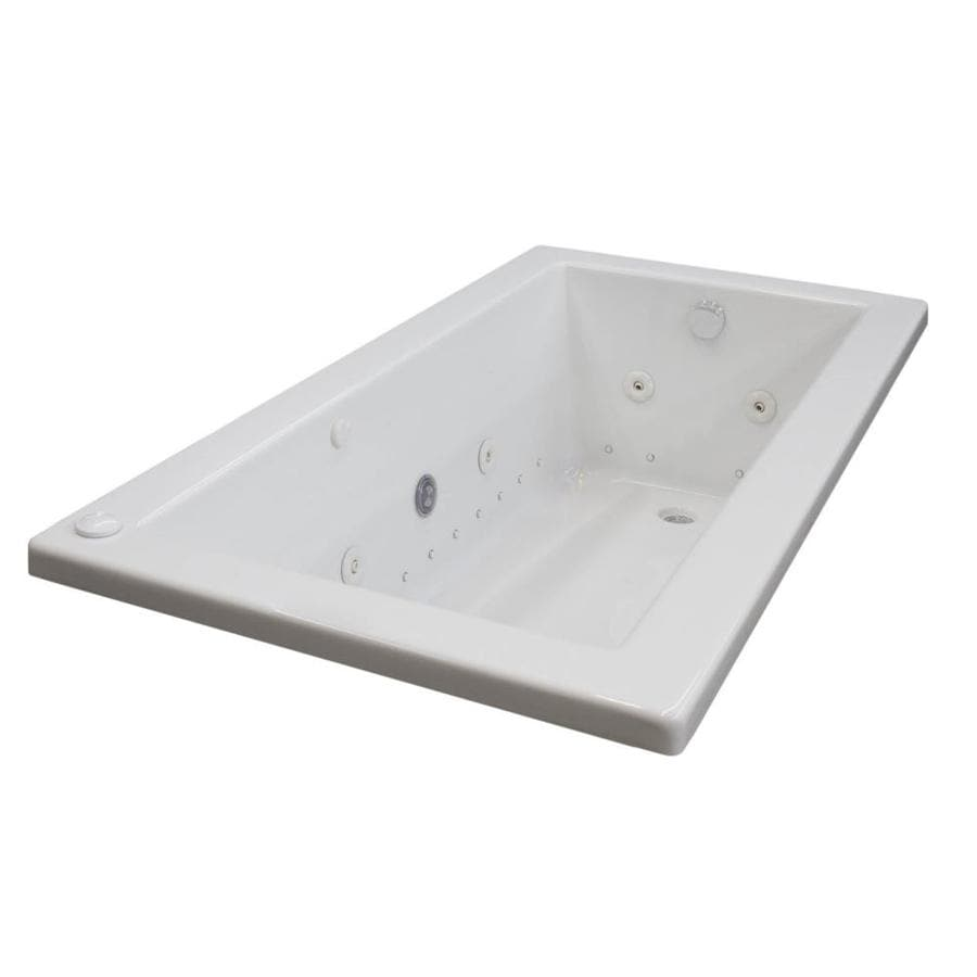 Endurance Peregrine 72 In White Acrylic Rectangular Left Hand Drain Drop Whirlpool