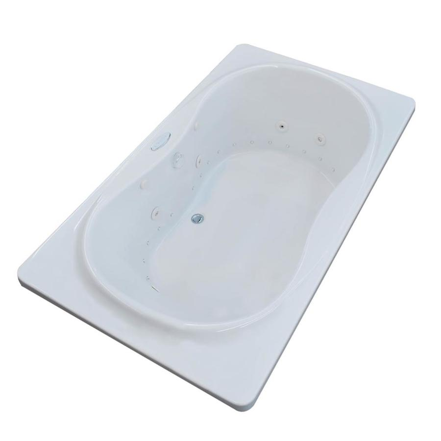 Endurance Crane 71.4-in White Acrylic Drop-In Whirlpool Tub and Air Bath with Center Drain