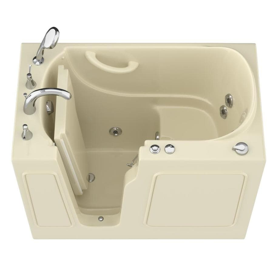 Endurance Biscuit Gelcoat and Fiberglass Rectangular Walk-in Whirlpool Tub (Common: 60-in x 30-in; Actual: 38-in x 46-in x 26-in)