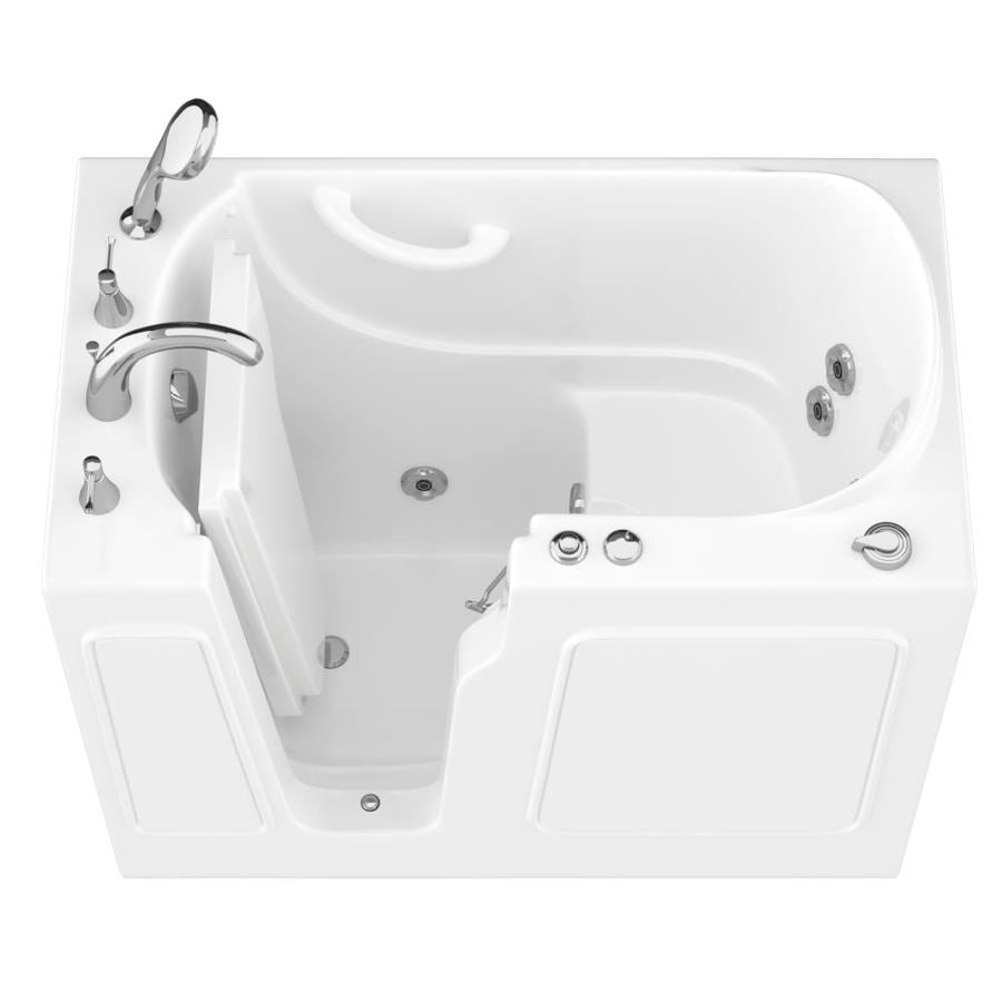 Endurance 26-in White Gelcoat/Fiberglass Walk-In Whirlpool Tub with Left-Hand Drain