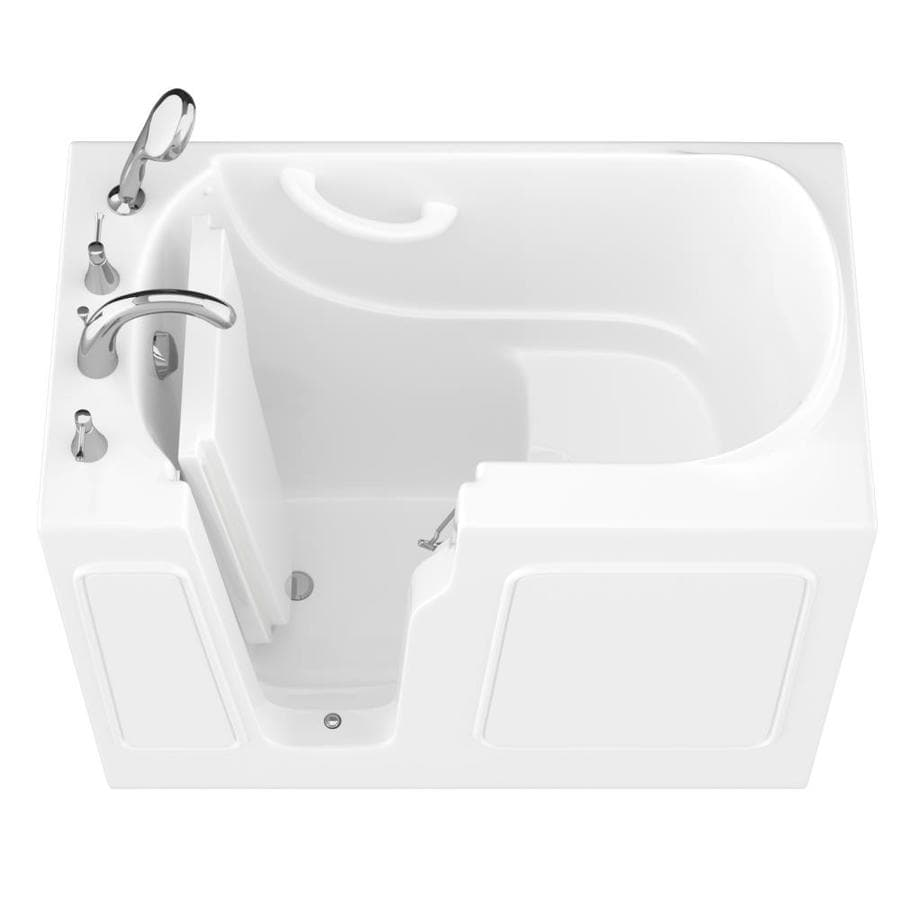 Endurance 26-in White Gelcoat/Fiberglass Walk-In Bathtub with Left-Hand Drain