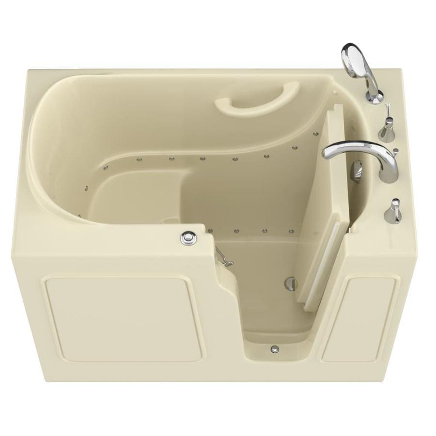 Endurance 46-in Biscuit Gelcoat/Fiberglass Walk-In Air Bath with Right-Hand Drain