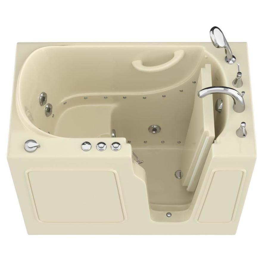 Endurance 46-in Biscuit Gelcoat/Fiberglass Walk-In Whirlpool Tub And Air Bath with Right-Hand Drain