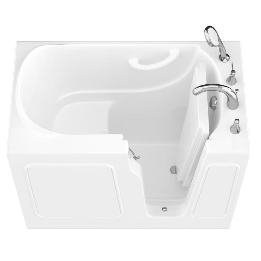 Endurance 26-in White Gelcoat/Fiberglass Walk-In Bathtub with Right-Hand Drain