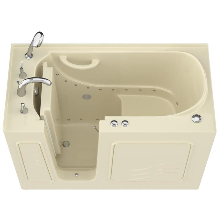 Endurance 53-in L x 27-in W x 38-in H Biscuit Gelcoat and Fiberglass Rectangular Walk-in Air Bath