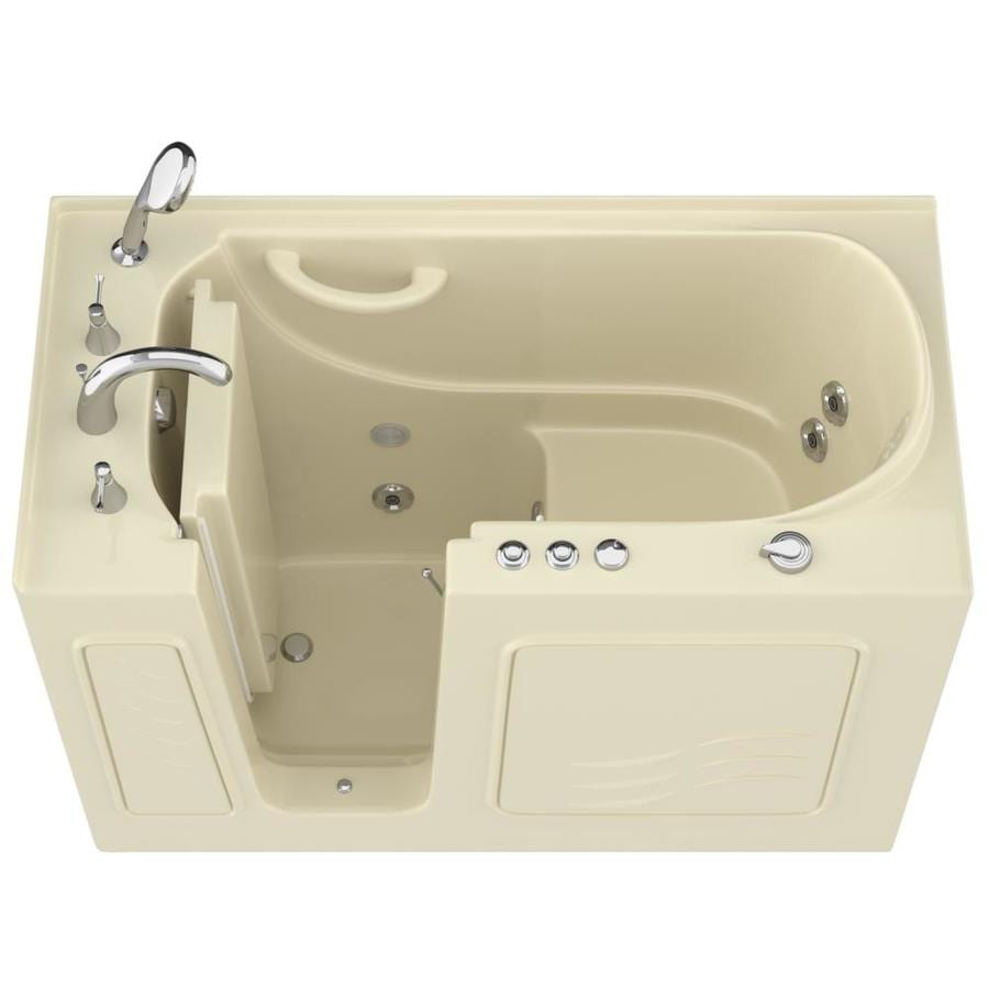 Endurance Biscuit Gelcoat and Fiberglass Rectangular Walk-in Whirlpool Tub (Common: 60-in x 30-in; Actual: 38-in x 53-in x 27-in)