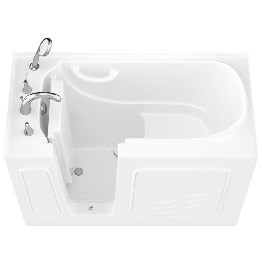 Endurance 27-in White Gelcoat/Fiberglass Walk-In Bathtub with Left-Hand Drain