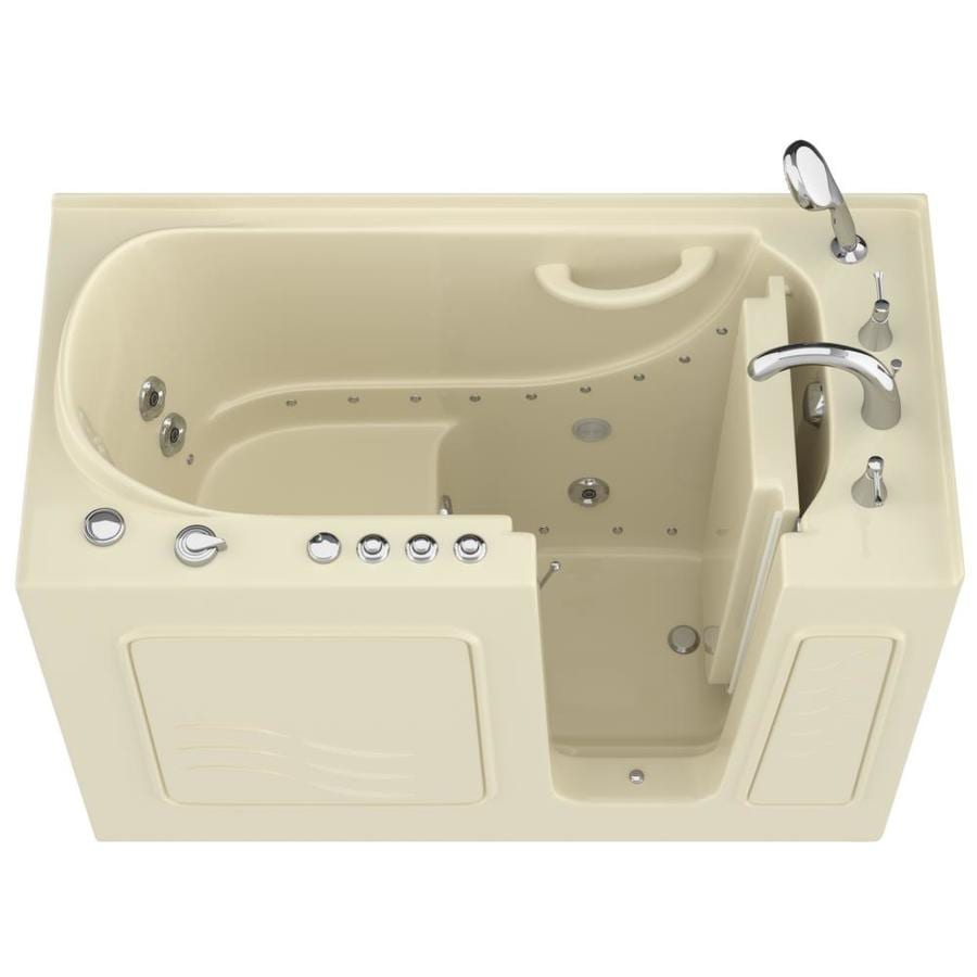 Endurance 53-in L x 27-in W x 38-in H Biscuit Gelcoat and Fiberglass Rectangular Walk-in Whirlpool Tub and Air Bath