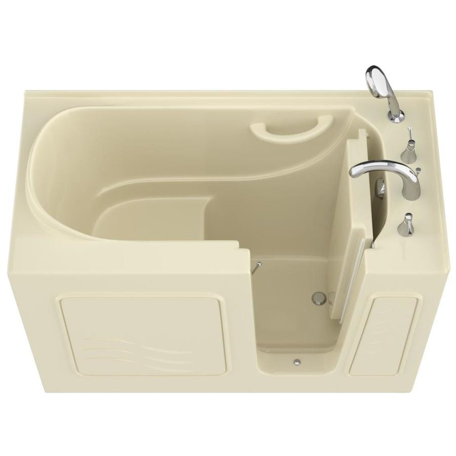 Endurance 27-in Biscuit Gelcoat/Fiberglass Walk-In Bathtub with Right-Hand Drain