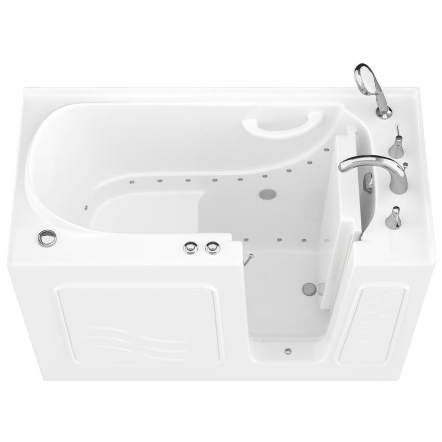 Endurance 53-in L x 27-in W x 38-in H White Gelcoat and Fiberglass Rectangular Walk-in Air Bath